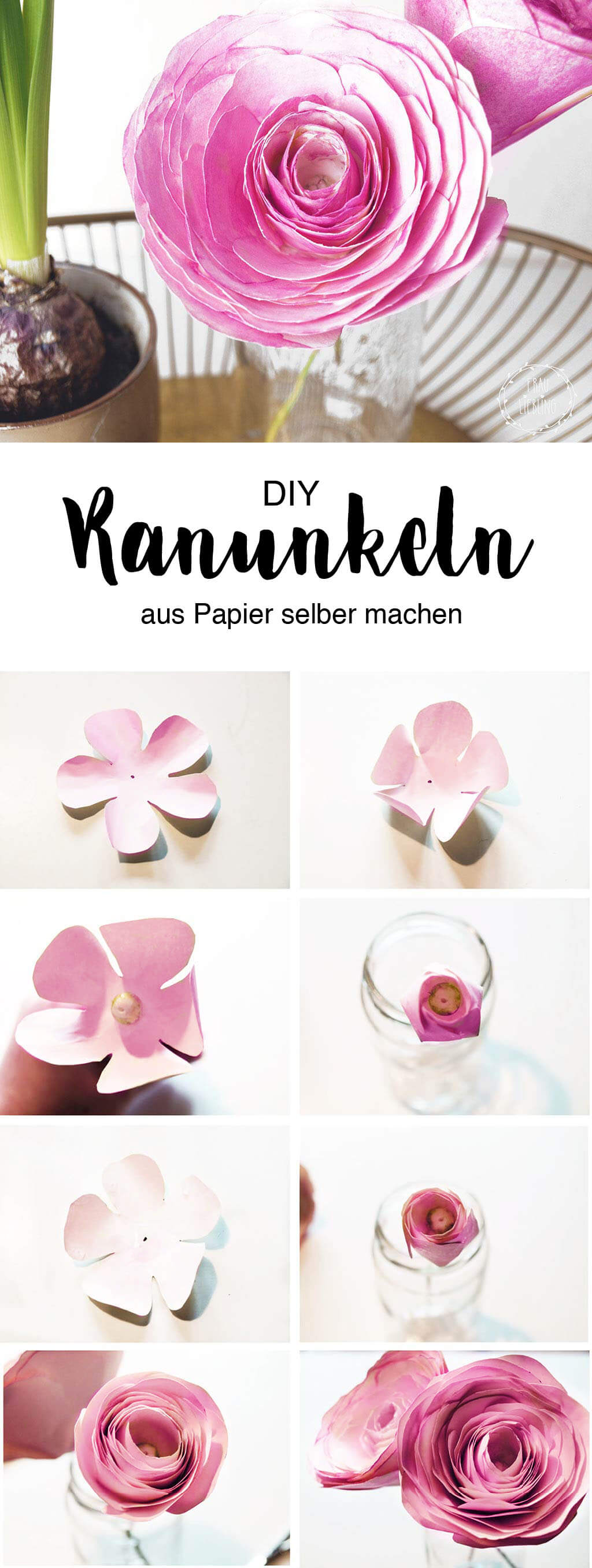 diy papierblumen sch ne ranunkeln ganz einfach selber machen. Black Bedroom Furniture Sets. Home Design Ideas